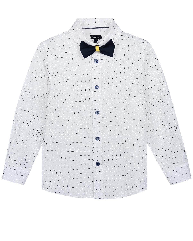 Белая рубашка с галстуком-бабочкой Baby A детская, Белый, 100%хлопок, 97%хлопок+3%эластан  - купить со скидкой