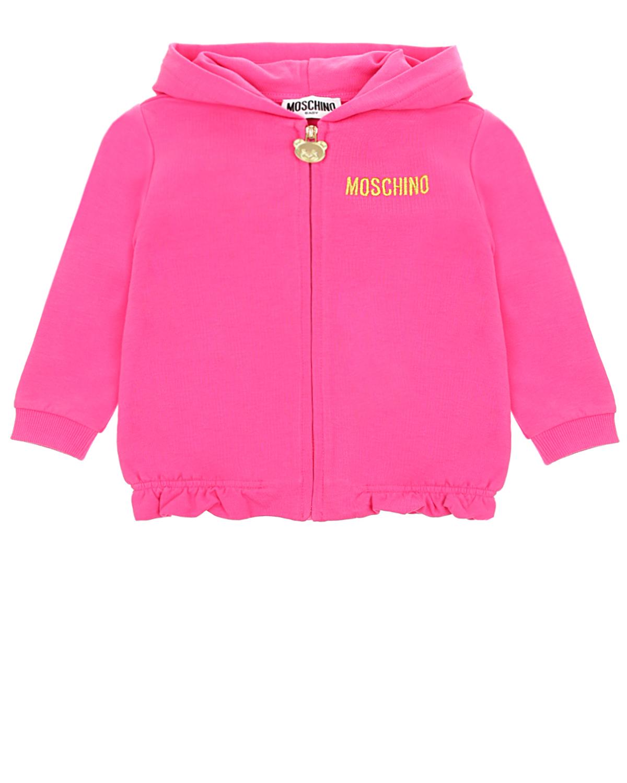Купить Спортивная куртка цвета фуксии Moschino детская, Нет цвета, 95%хлопок+5% эластан, 95% хлопок+5% эластан, 100% полиэстер, 68%вискоза+32%металл.волокно